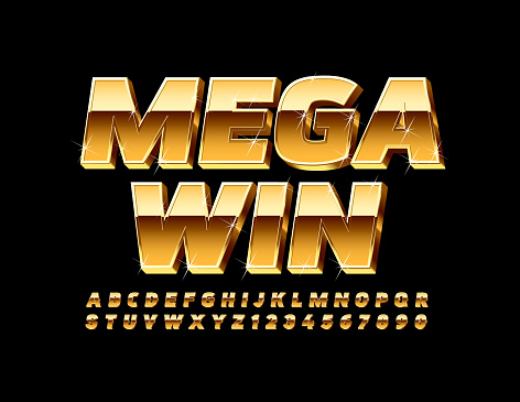 Vector Golden Emblem Mega Win. Chic Alphabet Letters and Numbers