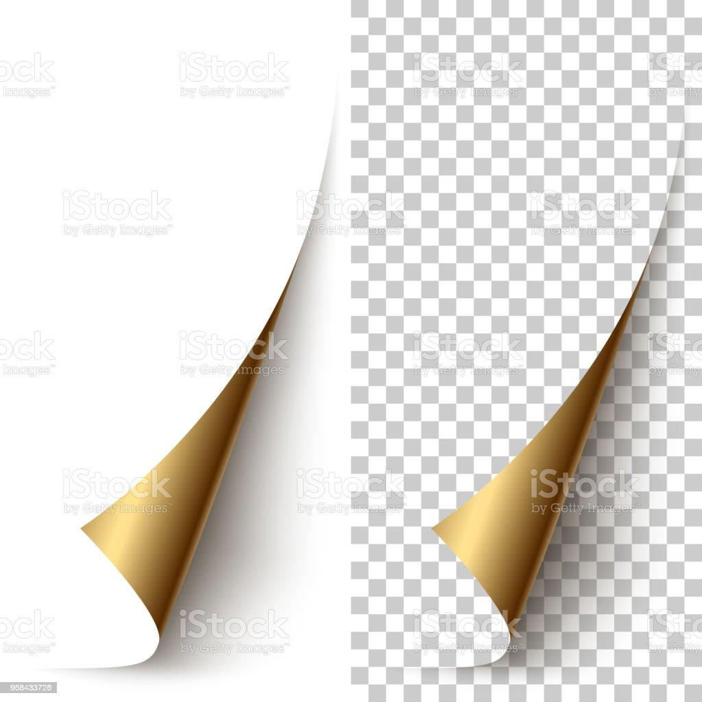 Vector golden foil vertical paper corner rolled up vector art illustration