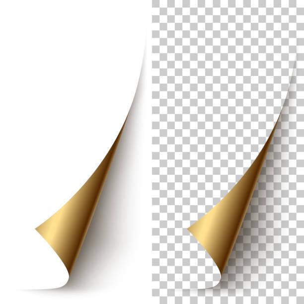 vector golden foil vertical paper corner rolled up - aluminum foil roll stock illustrations, clip art, cartoons, & icons