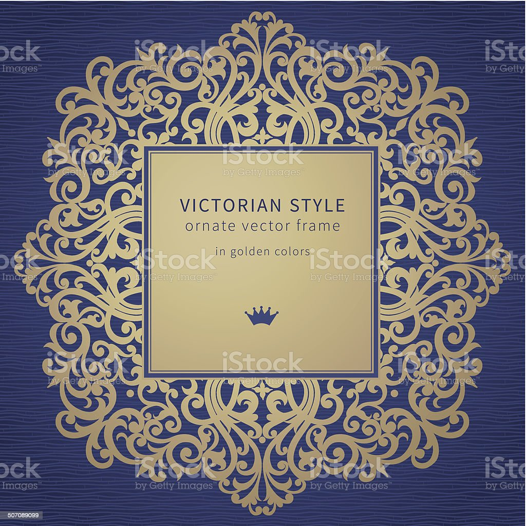 Vector golden frame in Victorian style. vector art illustration