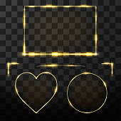 Vector golden frame set with glow effect. Neon rectangle, circle and heart frame with glitter effect. Golden elements for decoration