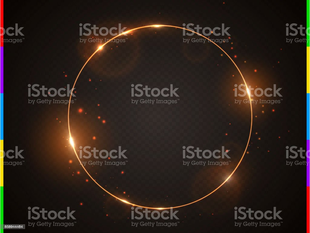 Vector golden frame with light effect flare and sparks. Shining round Christmas banner. Glow ring isolated on black transparent background. Vector illustration vector art illustration