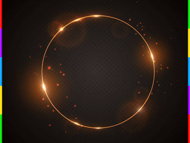 vector golden frame with light effect flare and sparks. shining round christmas banner. glow ring isolated on black transparent background. vector illustration - glowing stock illustrations, clip art, cartoons, & icons