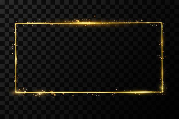 illustrazioni stock, clip art, cartoni animati e icone di tendenza di cornice dorata vettoriale con effetti luci. striscione rettangolare splendente. isolato su sfondo nero trasparente. illustrazione vettoriale, eps 10. - intelaiatura