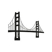 Vector golden gate bridge. Vector Illustration.