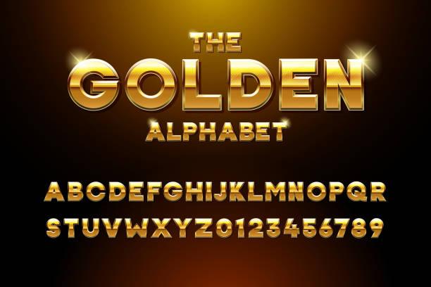 ベクトル黄金光沢3次元フォント効果。黄色い金属の書体と金色の棒と星が内側に。カジノ、プレミアムビジネス、ビデオゲームやその他の概念のための豪華なアルファベットデザイン - 金点のイラスト素材/クリップアート素材/マンガ素材/アイコン素材