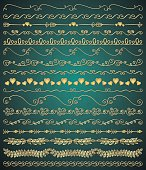 Collection of Golden Royal Luxury Hand Sketched Artistic Rustic Decorative Doodle Vintage Seamless Borders, Swirls, Branches. Design Elements. Hand Drawn Vector Illustration. Pattern Brashes