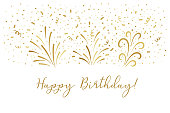 Vector golden Happy birthday text party background. Party confetti doodle graphic