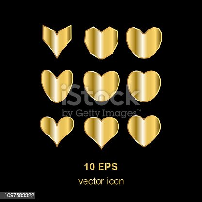 simple gold heart on a black background
