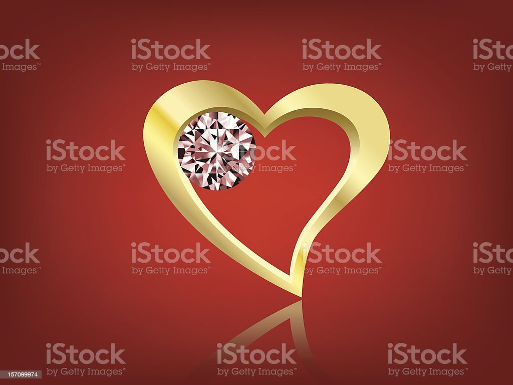 Vector golden heart shape and diamond royalty-free vector golden heart shape and diamond stock vector art & more images of abstract