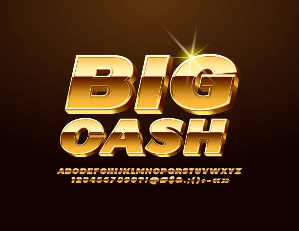 vector golden label big cash with 3d font. majestic elegant alphabet - banknot stock illustrations