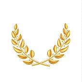 Vector golden laurel wreath winner shiny sign
