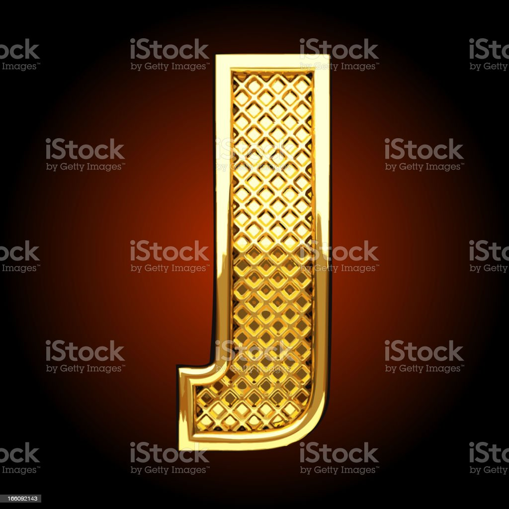 Vector golden letter J royalty-free stock vector art