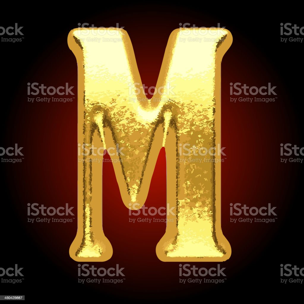Vector golden letter m on red royalty-free stock vector art