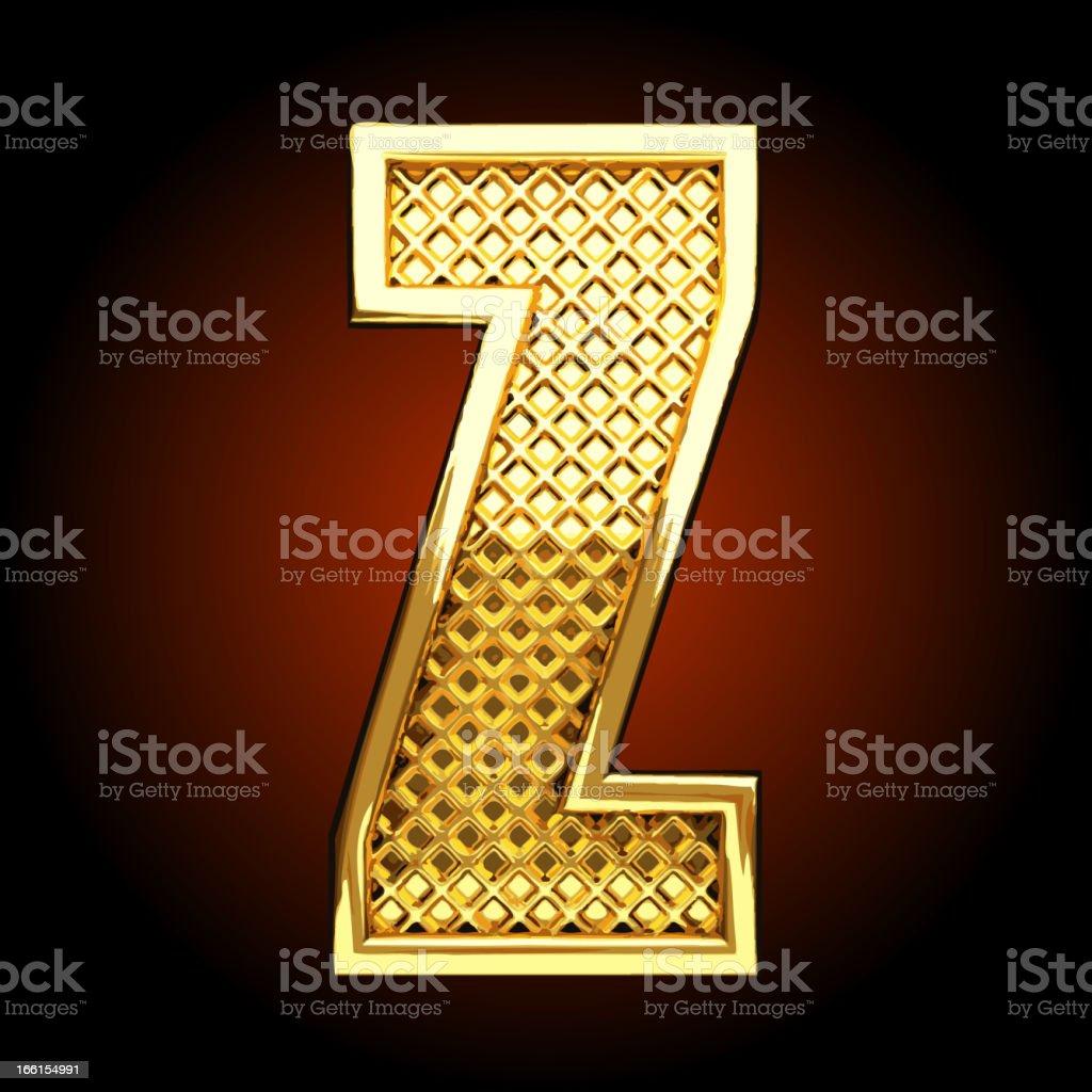 Vector golden letter Z royalty-free stock vector art