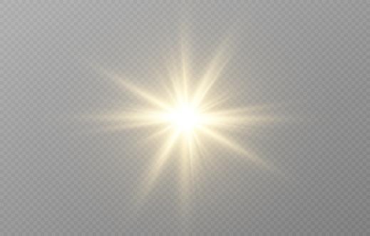 Vector golden light. Sun, sun rays, dawn, star, flare png. Golden Star. Golden flash png. Vector image. Vector.