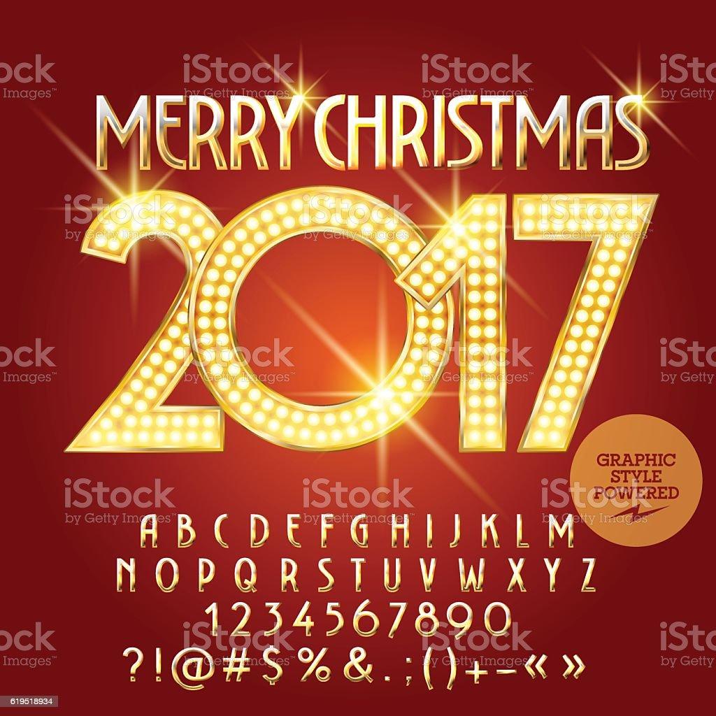 Vector Golden Light Up Merry Christmas 2017 Greeting Card Stock