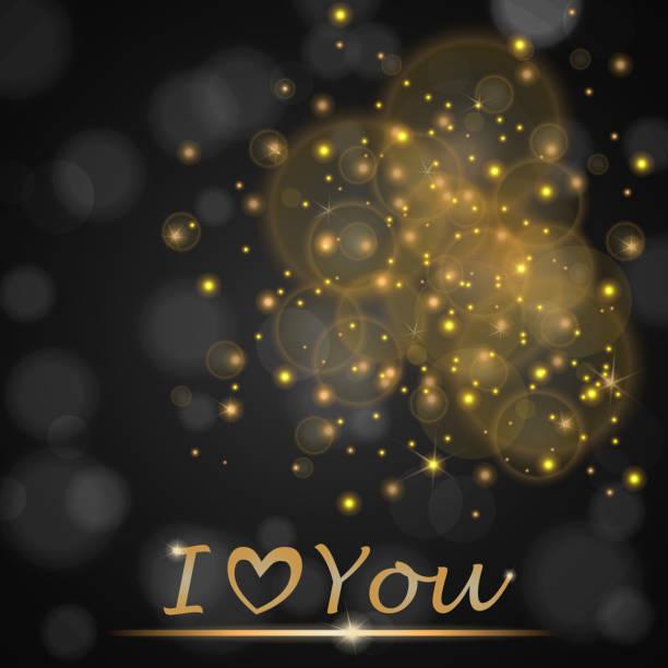 """illustrazioni stock, clip art, cartoni animati e icone di tendenza di vector golden lights concept abstract on black ambient blurred background """"i love you"""". luxury design. vector illustration - love word"""