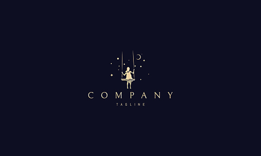 Vector golden logo on which an abstract image of a girl riding on a swing under the starry sky .