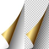 Vector golden metallic realistic paper page corner