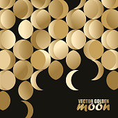 A beautiful digital generated Abstract Background with a vector golden coloured moon pattern