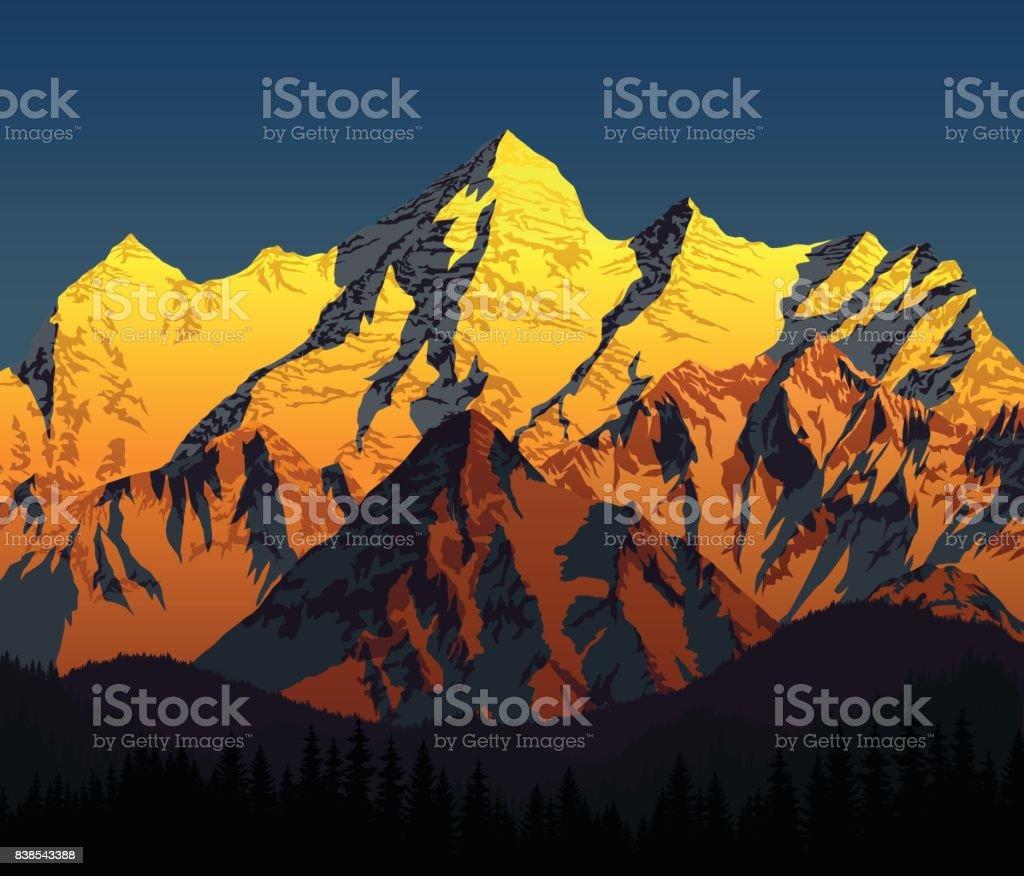 vector golden morning mountains landscape vector art illustration