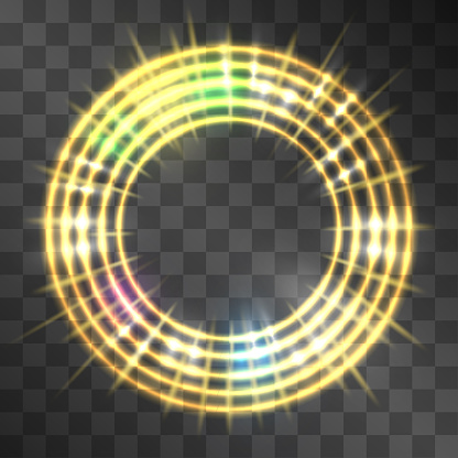 Vector golden neon light effect, circle frame with hazy flares. Magical glowing yellow blurred illumination with rainbow flares. Energy ring flow in motion. Luxurious winner wheel award frame design.