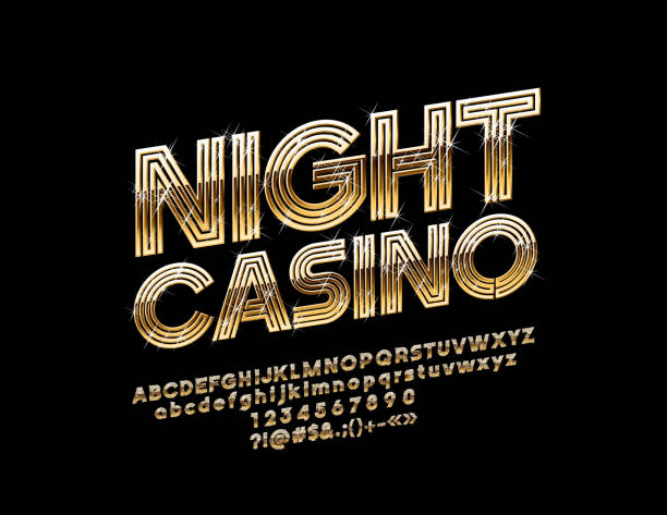 vector golden night casino label with chic font. - dyskoteka stock illustrations