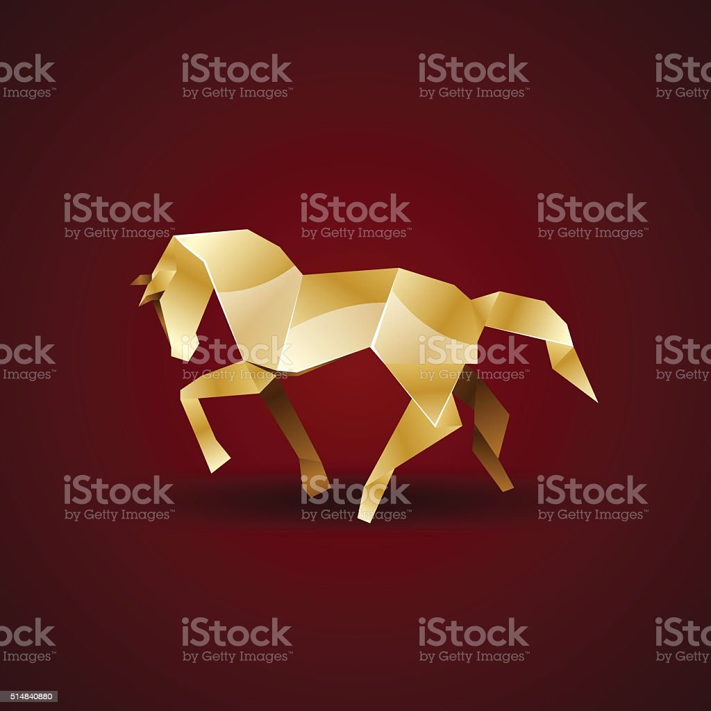 Vector Golden Origami Horse Royalty Free Stock Art Amp