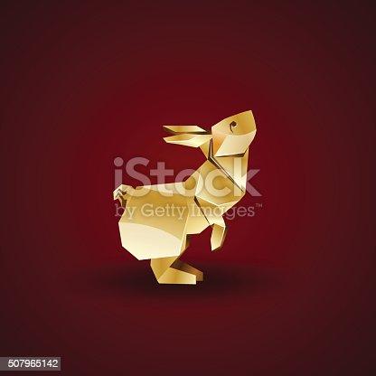 Vector Golden Origami Rabbit Stock Vector Art More Images Of