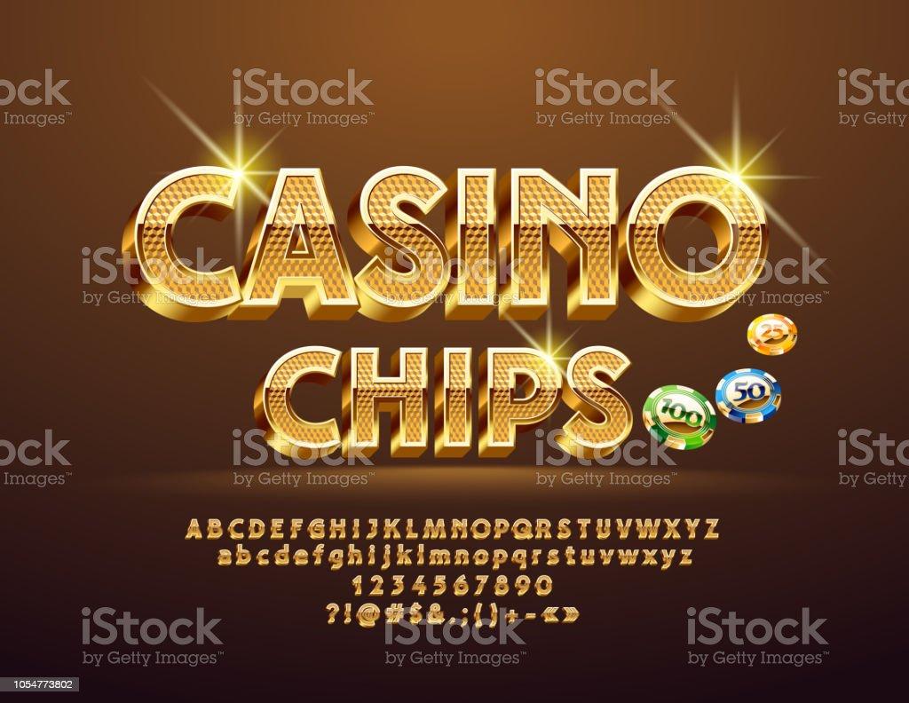 Vector Golden pattern text Casino Сhips with Alphabet