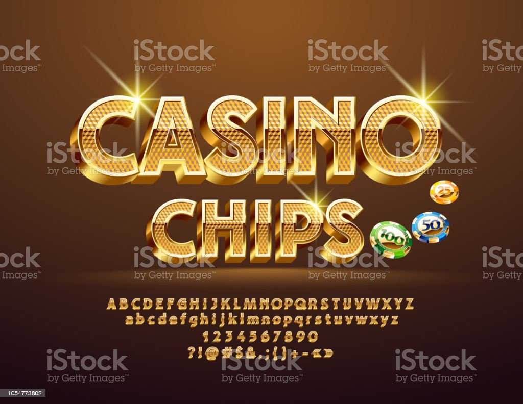 Vector Golden pattern text Casino Сhips with Alphabet vector art illustration