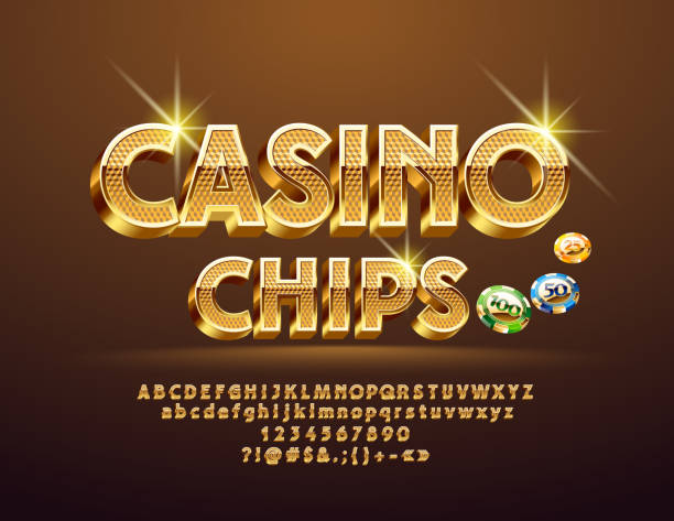 Vector Golden pattern text Casino Сhips with Alphabet Luxury 3D Font. Sparkling elegant Letters, Numbers and Symbols casino stock illustrations