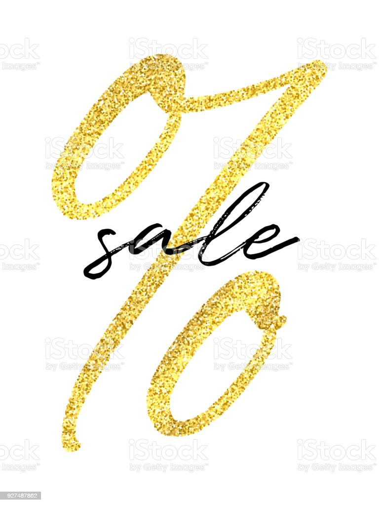 vector golden percent sign and black sale word on white background