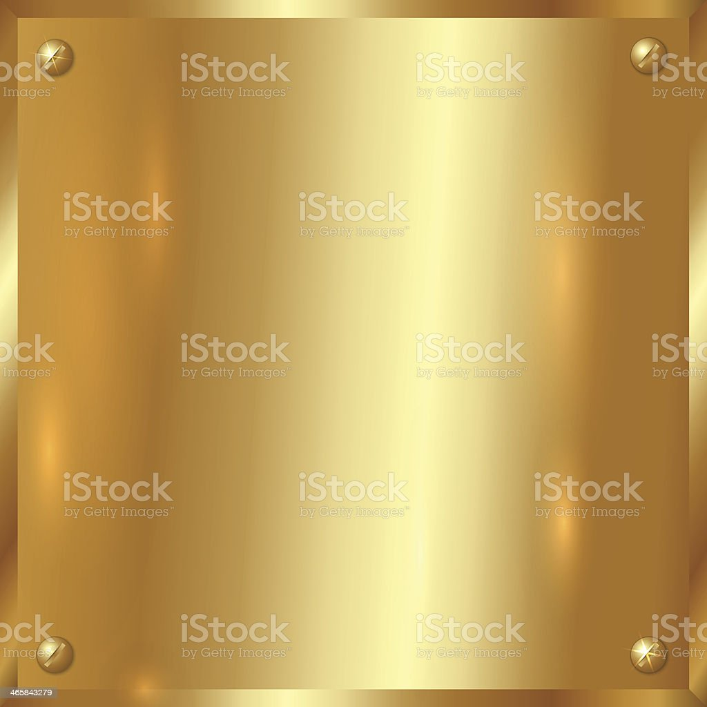 Vector golden plate with screws vector art illustration