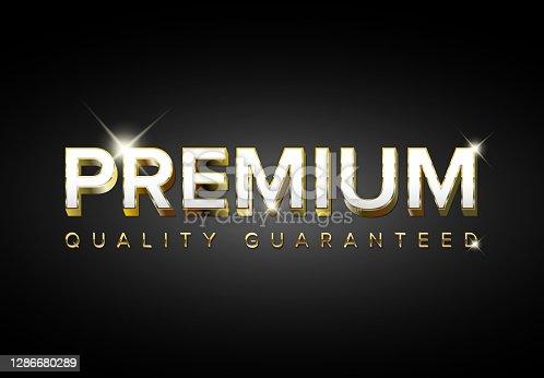 istock Vector golden premium quality tag 1286680289