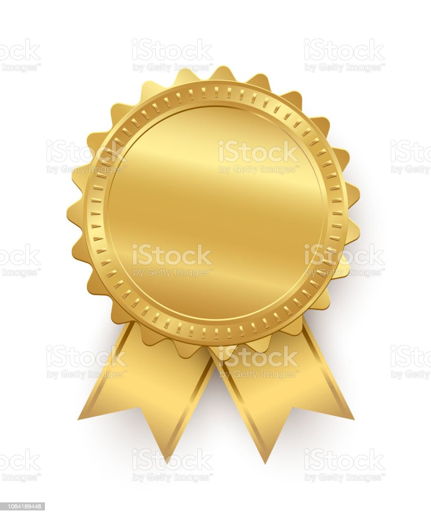 Vector golden seal with ribbons isolated on white background. - Grafika wektorowa royalty-free (Biznes)