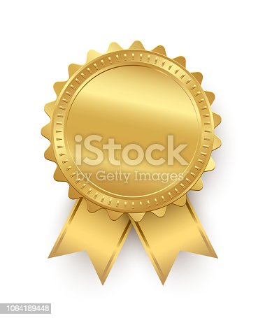 Vector golden seal with ribbons isolated on white background