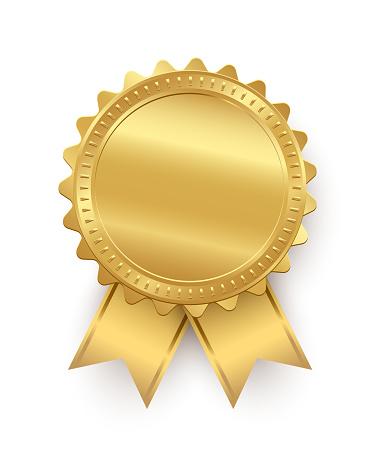 Vector Golden Seal With Ribbons Isolated On White Background - Stockowe grafiki wektorowe i więcej obrazów Biznes