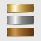 Vector golden, silver and bronze podium plates isolated on grey background.