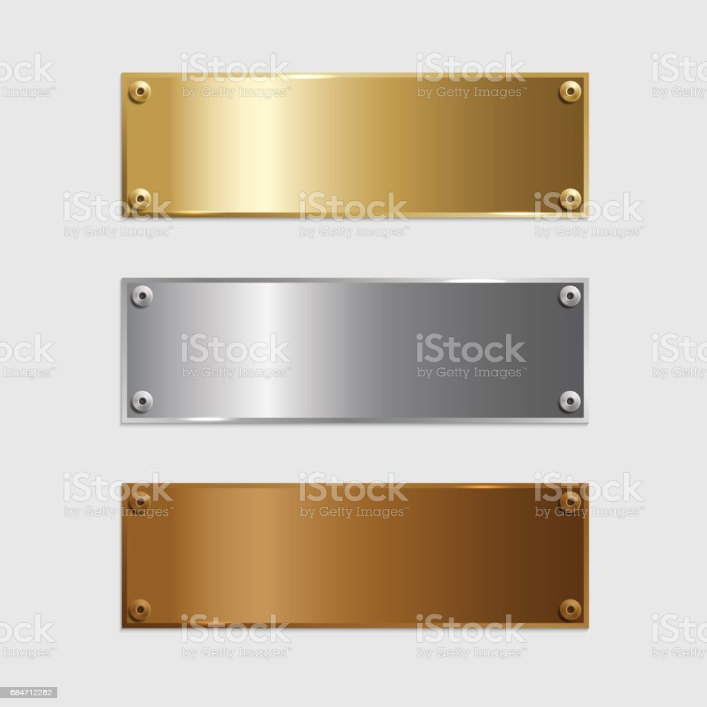 Vector golden, silver and bronze podium plates isolated on grey background. vector art illustration