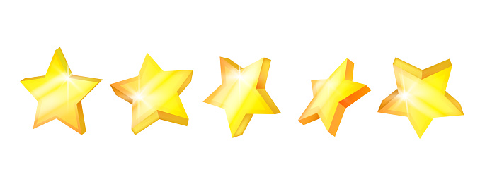 3D vector golden stars icon web set, five perspective yellow geometric badges isolated on white.