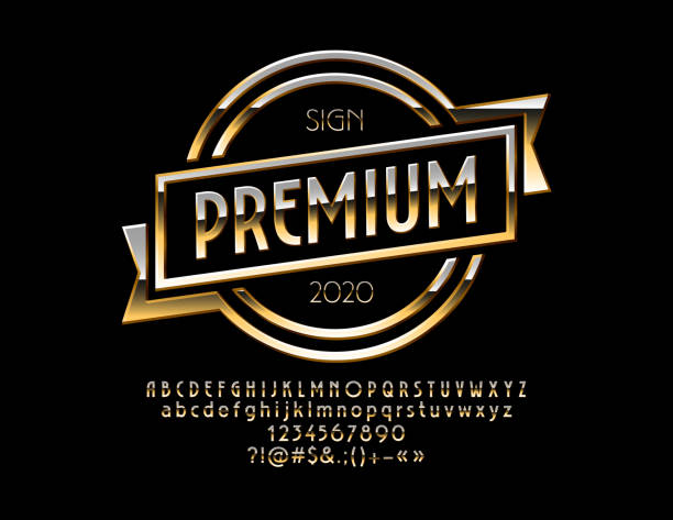 Vector Golden Template with Glossy Alphabet vector art illustration