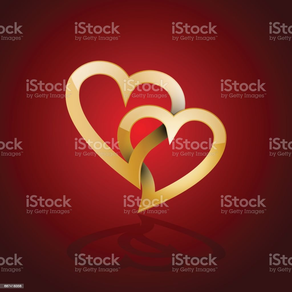 Vector golden  two twisted hearts. Concept of eternal love vector art illustration