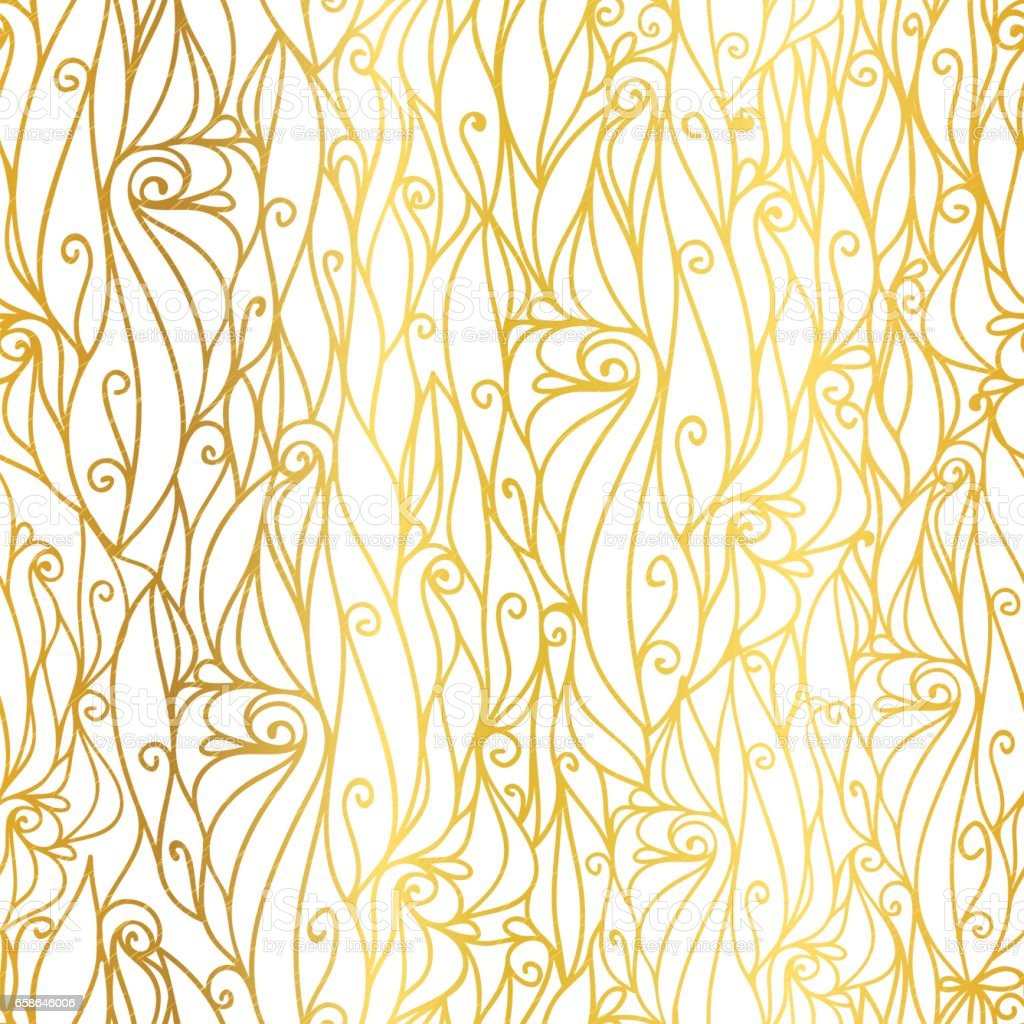 vector golden white abstract scrolls swirls seamless