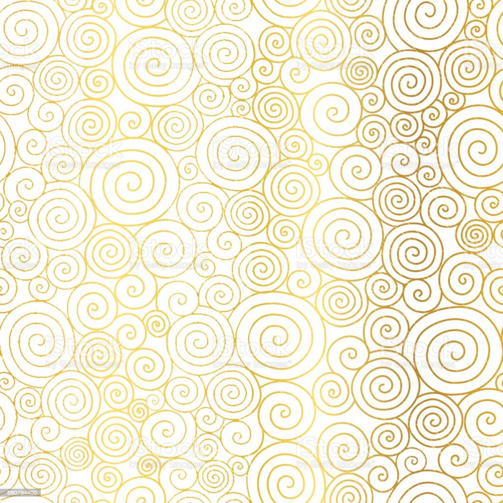 Vector Golden White Abstract Swirls Seamless Pattern Background