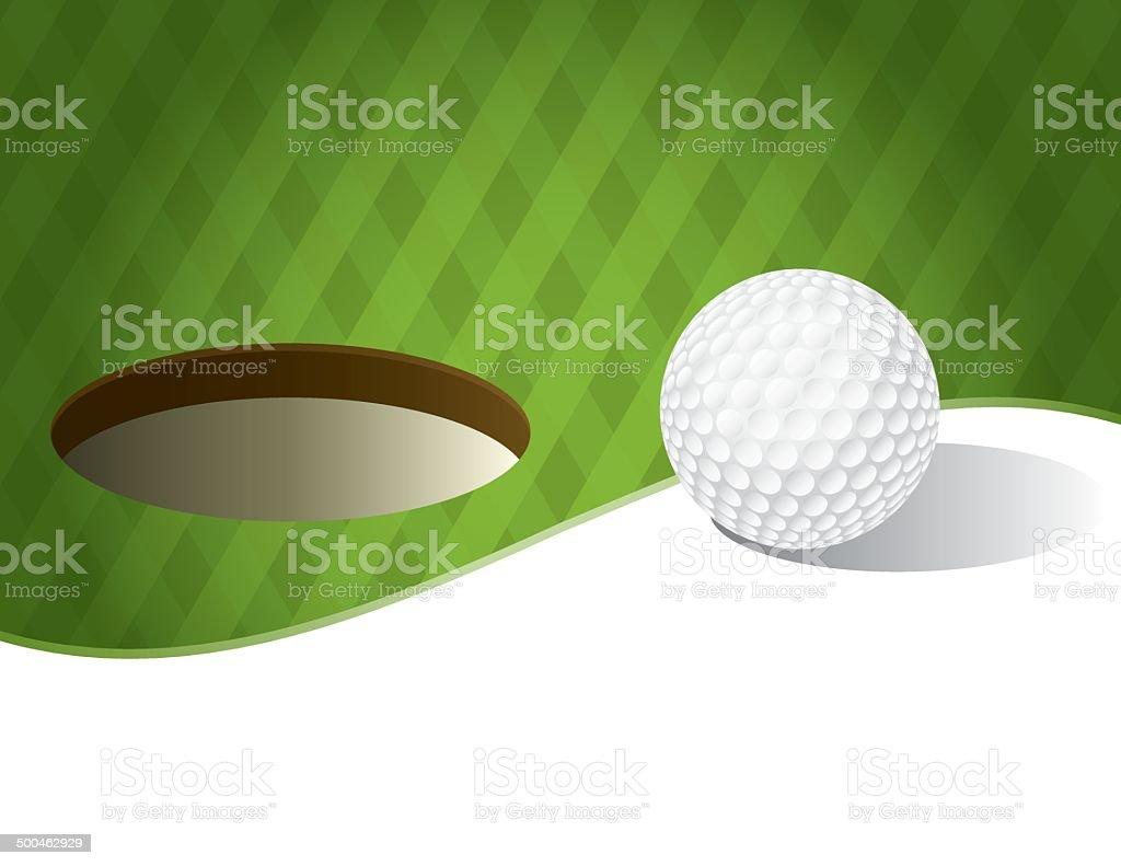 Vector Golf Ball on a Putting Green Background vector art illustration