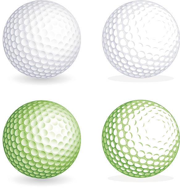 Vector golf Ball Two hi detail golf balls, one shaded and one flat style. File is organized with Layers, separating balls from shadows. All colors are global, so it's easy to customize and color the ball as you need it. golf ball stock illustrations