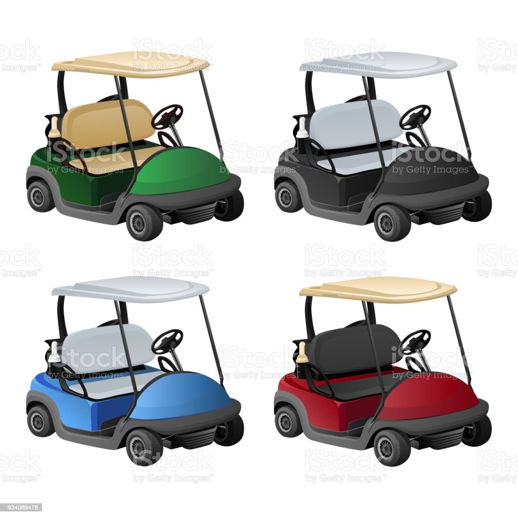 Vector Golf Car In Four Color Royalty Free Stock
