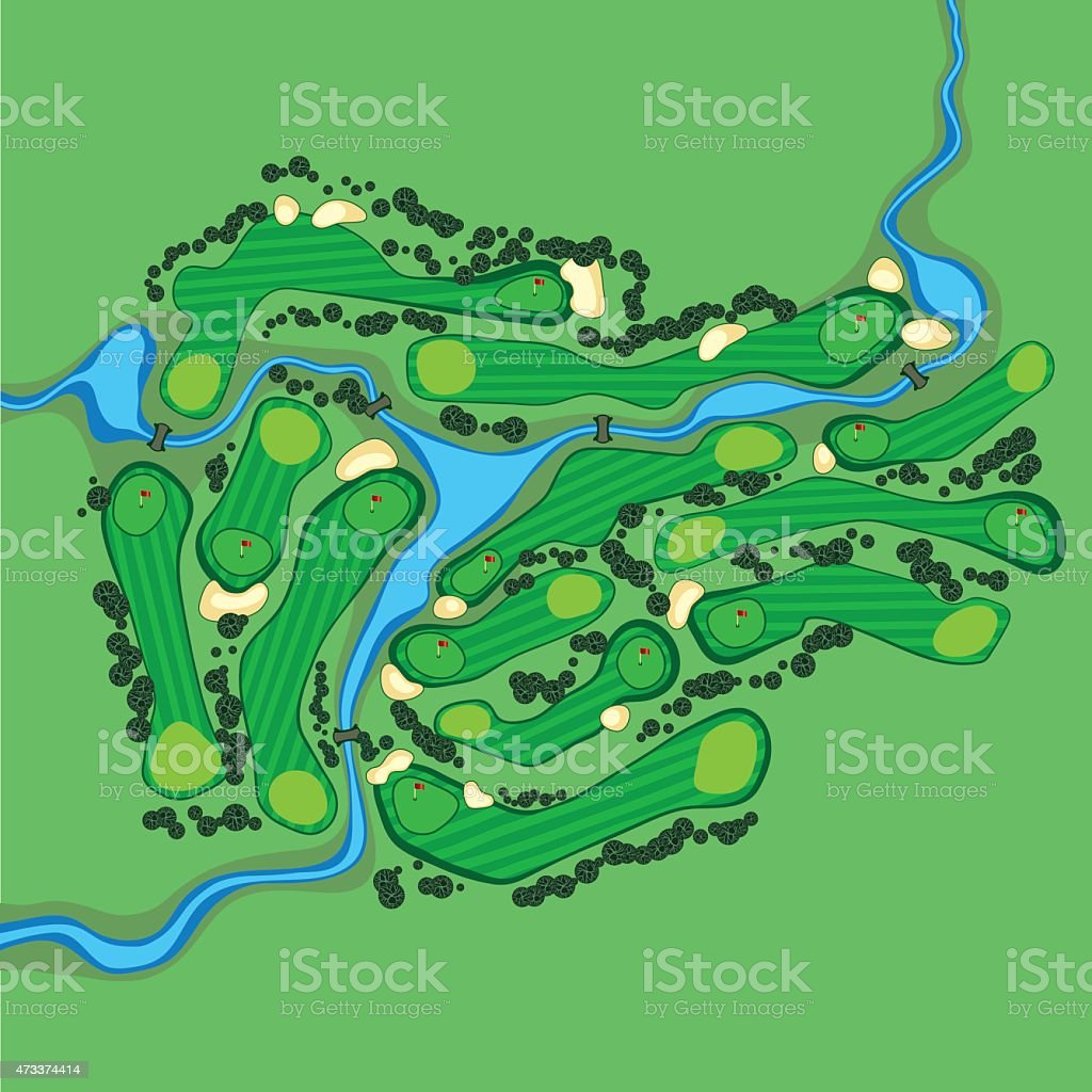 Vector golf course aerial view vector art illustration